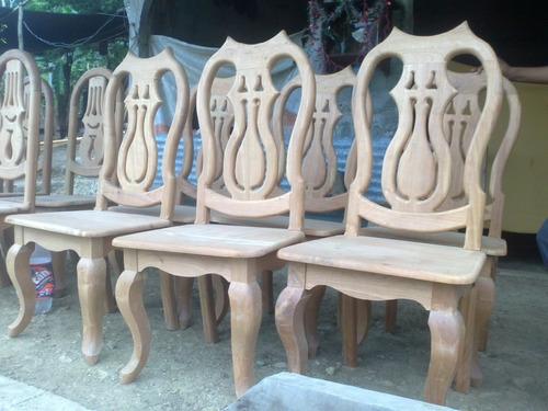 Sillas para comedor en madera de cedro labradas y talladas ...