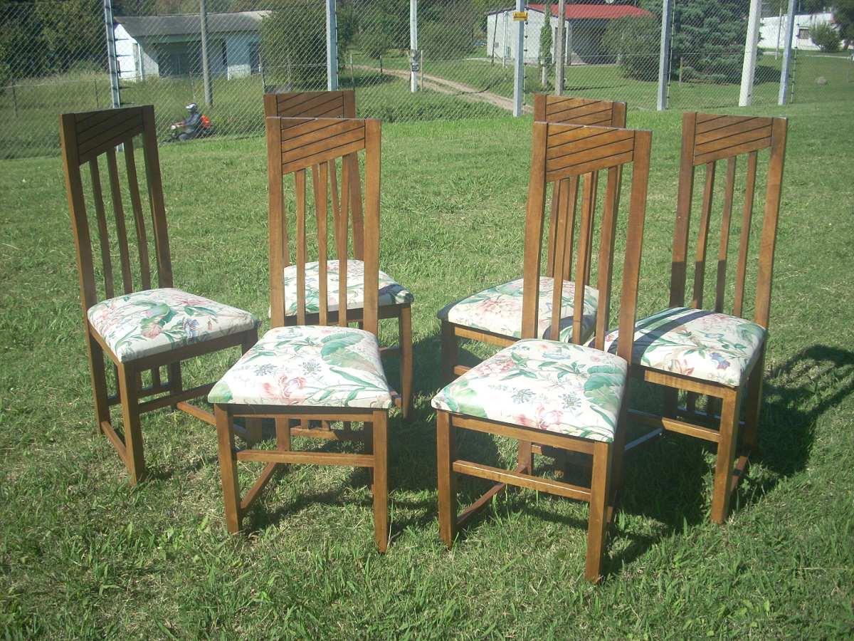 Sillas para comedor madera cereceira son 6 tapizado floral for Comedor 6 sillas usado
