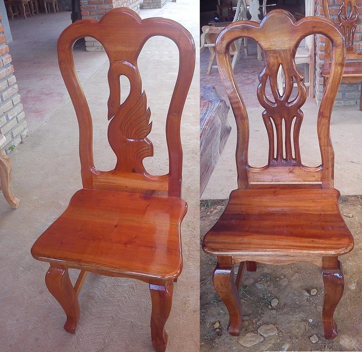Sillas para comedores labradas madera de cedro for Modelos de sillas de madera de comedor