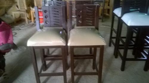 sillas para mesones, tapizadas, altas, madera saman, rustica