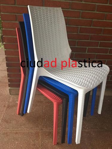 sillas plásticas apilables reforzadas diseño sillón rubí