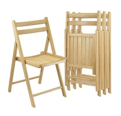 sillas plegables de madera hechas a mano set 4 .