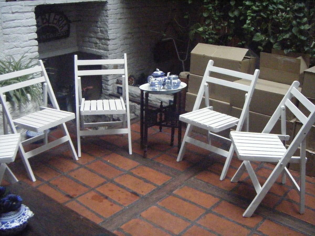 Sillas plegables madera eucaliptus pintadas blanco 700 - Sillas plegables madera ...