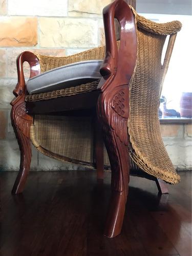 sillas ratan natural y madera