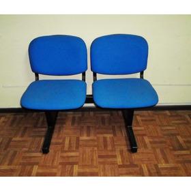 Sillas Tandem 2 Cuerpos Oficina Sala De Espera Pana Azul