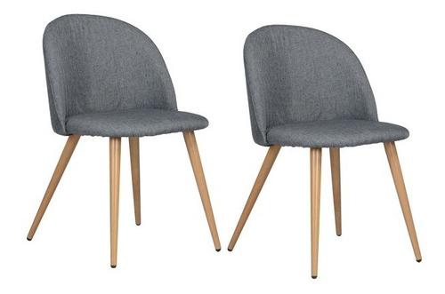 sillas tapizadas set de 2 zomba en tela gris oscuro