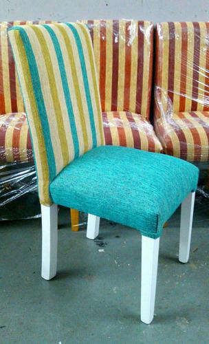 sillas tapizadas vestidas en cheniille placa soft reforzadas