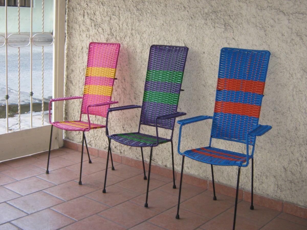Sillas tejidas con plastico respaldo alto y banco para for Sillas jardin