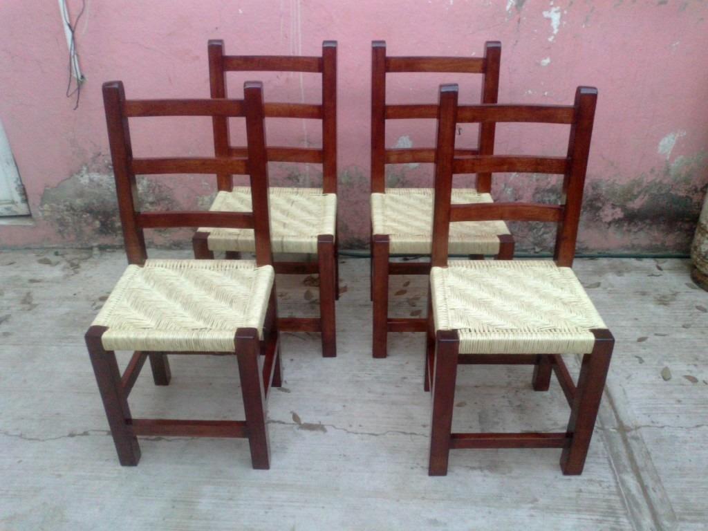 Sillas tejidas de palma madera de cedro en for Sillas economicas de madera