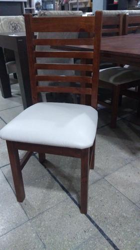 sillas x6 comedor de pino tapizada lustrada 19026 cravero