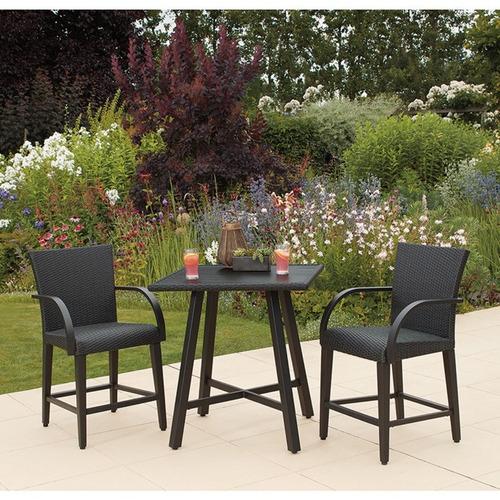 sillas y mesa rattán jardín terraza lounge exterior bistro
