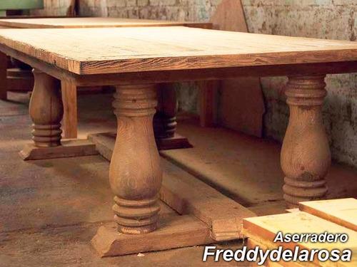 sillas y mesas rusticas pino tea madera antigua