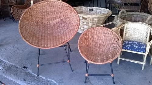 silla/sillón nido de mimbre con base de fierro para niños