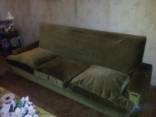 sillon 3 cuerpos pana almohadones pluma retro años 70