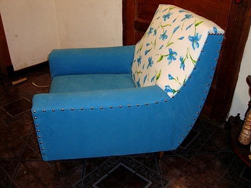 sillón americano escandinavo cuero gamuzado