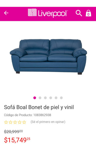 sillón boal de piel azul sofá  (cambio)