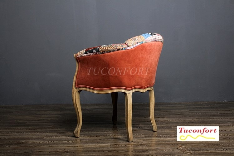 Sillon butaca poltrona silla roble tapizado india for Poltronas en montevideo