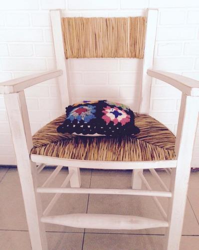 sillón cabecero de madera y junco rústico shabby chic