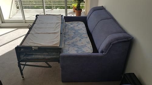 sillon cama 2 plazas azul tipo jean facyca