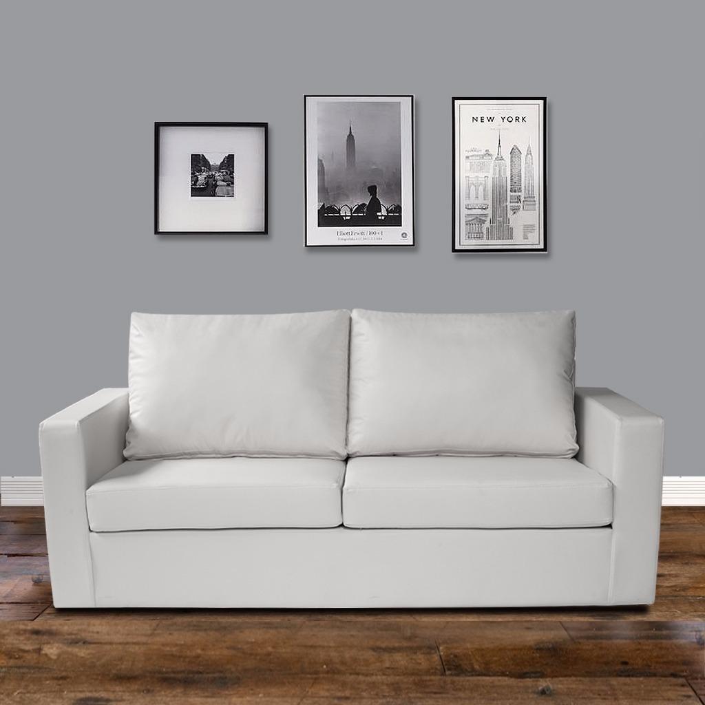 Sill N 3 Cuerpos Ecocuero Blanco Premium Muebles Express  # Muebles Leandro