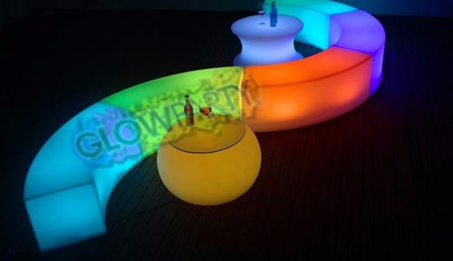 sillón curva iluminado lounge mueble dj salas iluminadas led