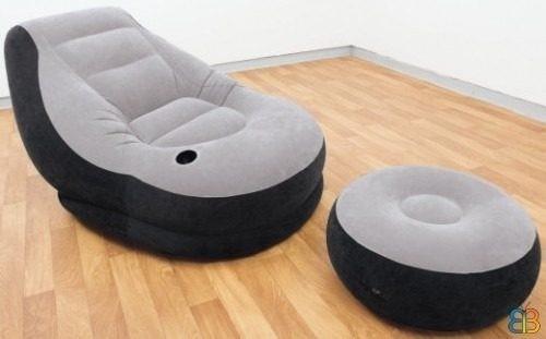 sillon de descanso con puff apoya pies inflable importado