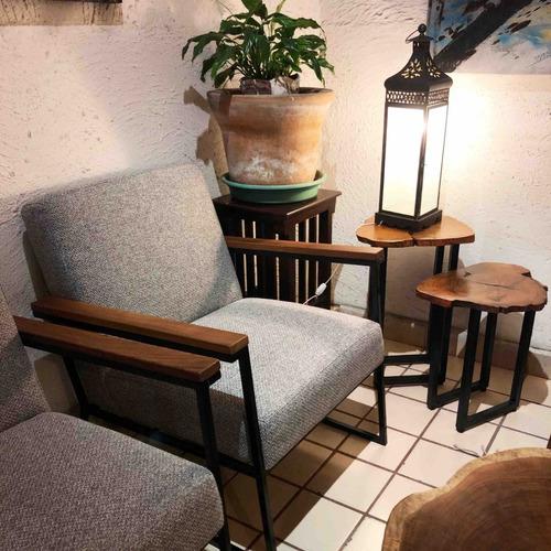 sillón de madera con hierro