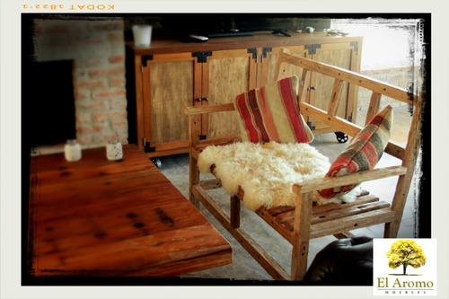 sillón de madera exterior e interior rústico el aromo