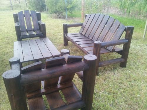 sillon de troncos para jardín barbacoa o dek