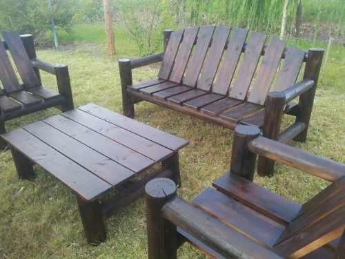 Sillon de troncos para jard n barbacoa o dek for Sillon jardin madera