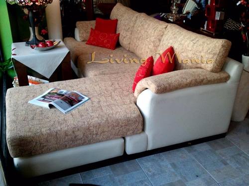 sillón esquinero con puff en tela chenille jackard y cuerina