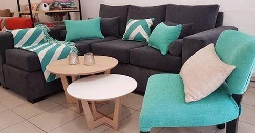 sillón esquinero+puf movil+silla matera chenille premium