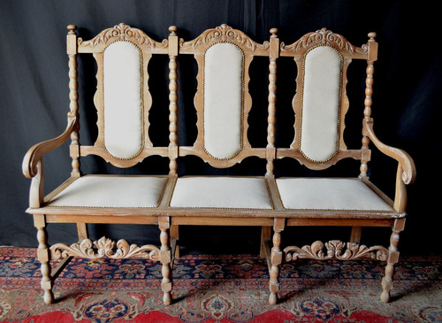sillon estilo antiguo madera patinado blanco tapizado 3 p