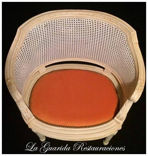 sillon frances canape doble esterilla pana naranja