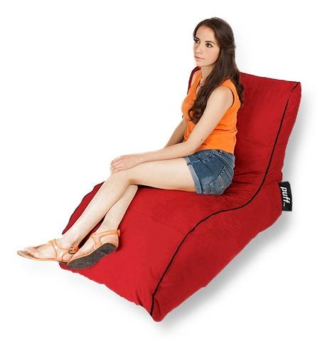 sillón individual relax moderno barato tela tipo gamuza rojo