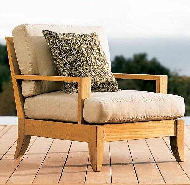Sillon individual terraza exterior madera teka americana for Sillones de terraza baratos