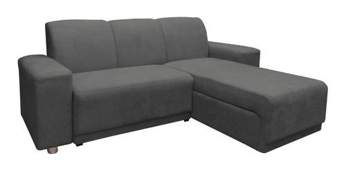 sillon juego de living comedor sofa chaise long gris plaza