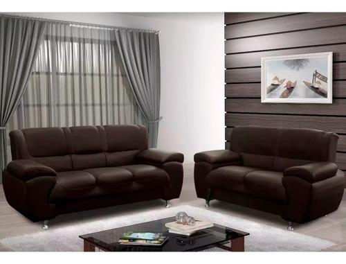 sillón juego de living ecocuero fuerte sofás 3+2 muebles web