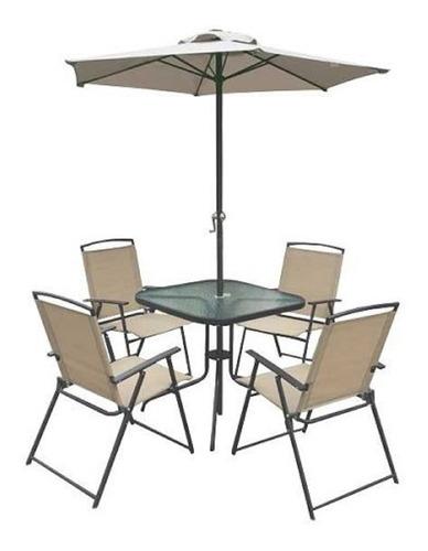 sillon juego jardin balcon sombrilla grande + mesa + 4 silla