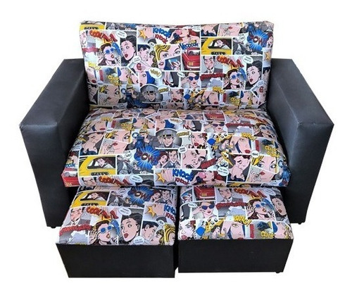 sillon living sofa homero 2 cuerpos + 2 puff mi casa