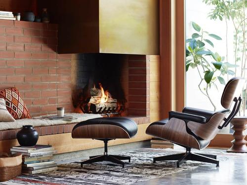 sillon miller con ottomano eames lounge madera poltrona