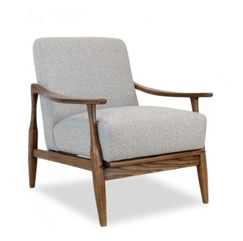 sillón moderno de madera parota en tela gris