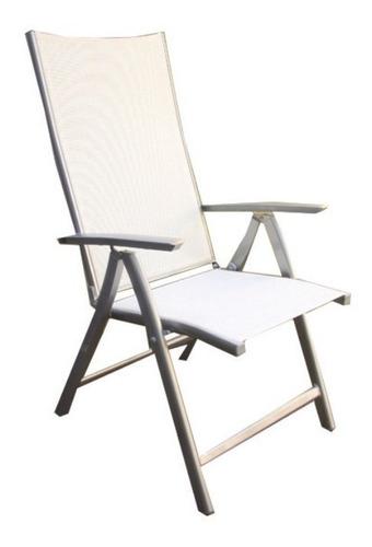 sillón multiposición venus, aluminio y textilene blanco