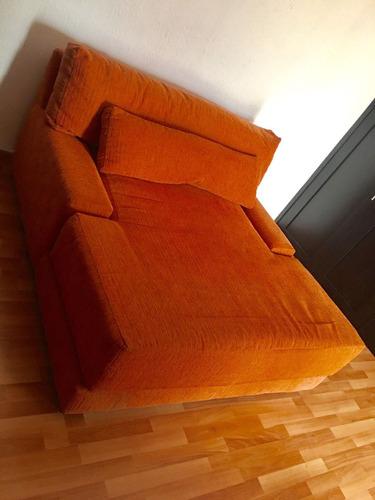 sillon naranja tipo sofa cama para dos personas
