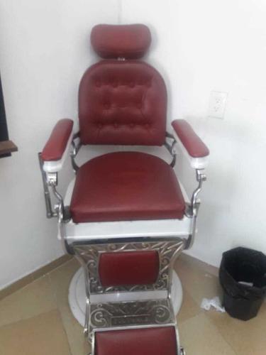 sillón para barberia rojo