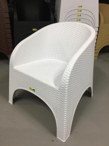 sillon plastico simil ratan apilable reforzado modelo alejo