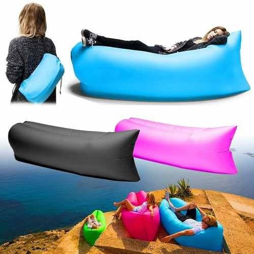 sillon puff inflable bag colores playa camping piscina