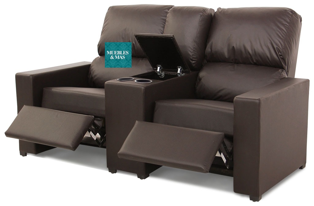 Sillon reclinable doble con portavasos y consola prof for Sillon reclinable
