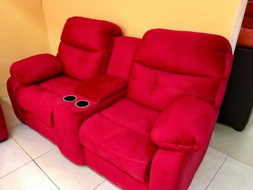 sillón reclinable doble medellin con porta vasos