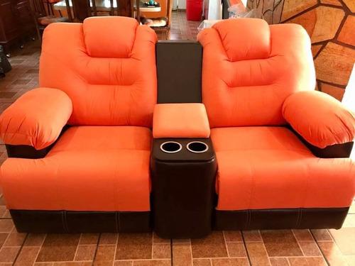 sillón reclinable doble medellin con porta vasos sec